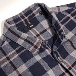 Theory Gray Red Navy Plaid Shirt L Current Stock